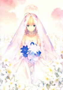 Rating: Safe Score: 104 Tags: dress fate/stay_night saber takeuchi_takashi type-moon wedding_dress User: fireattack