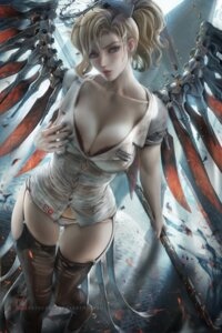 Rating: Questionable Score: 96 Tags: bra breast_hold mercy_(overwatch) nurse open_shirt overwatch pantsu sakimichan see_through stockings thighhighs torn_clothes weapon wings User: BattlequeenYume