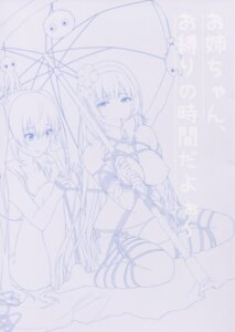 Rating: Questionable Score: 14 Tags: bikini bondage line_art monochrome nipples swimsuits tagme thighhighs topless umbrella User: kiyoe