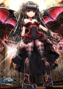 Rating: Questionable Score: 104 Tags: black_joa blood cleavage dress fishnets heels loli thighhighs torn_clothes unleashed wings User: KazukiNanako