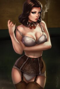 Rating: Questionable Score: 25 Tags: bioshock bioshock_infinite bra breast_hold cleavage dandon_fuga lingerie pantsu smoking stockings thighhighs undressing User: NotRadioactiveHonest