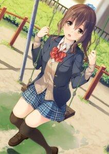 Rating: Safe Score: 96 Tags: seifuku sweater thighhighs unasaka_ryou User: Mr_GT
