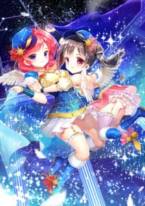 Rating: Safe Score: 20 Tags: dress heels love_live! nishikino_maki no_bra siloteddy stockings thighhighs wings yazawa_nico User: Mr_GT