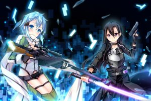 Rating: Safe Score: 38 Tags: grandia_(artist) gun gun_gale_online kirito sinon sword sword_art_online weapon User: 椎名深夏