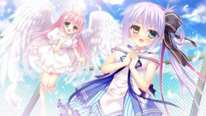 Rating: Safe Score: 52 Tags: angel dress game_cg heterochromia love_love_sisters pajamas_ex rokudou_itsuki rurikarakusa_akari rurikarakusa_hikari seifuku wings User: donicila