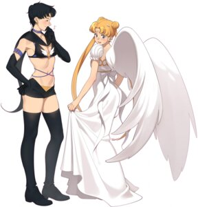 Rating: Safe Score: 18 Tags: aconitea bikini_top cleavage dress princess_serenity sailor_moon seiya_kou skirt_lift thighhighs tsukino_usagi wings User: Radioactive