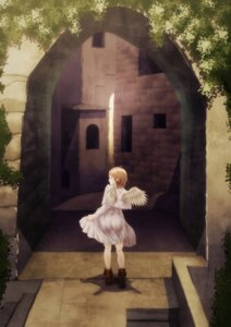 Rating: Safe Score: 8 Tags: dress haibane_renmei landscape skirt_lift waka_(artist) wings User: charunetra