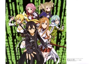 Rating: Safe Score: 26 Tags: animal_ears armor asuna_(sword_art_online) cleavage kirito leafa lisbeth nekomimi pointy_ears silica sinon sword sword_art_online thighhighs weapon yamashita_yuu User: drop
