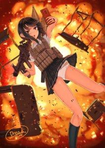 Rating: Questionable Score: 20 Tags: dreadtie gun pantsu seifuku skirt_lift weapon User: Dreista