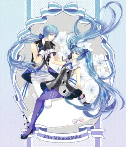 Rating: Safe Score: 6 Tags: dress genderswap hatsune_miku hatsune_mikuo pantyhose vocaloid zukiyuki User: charunetra