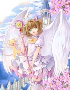 Rating: Safe Score: 31 Tags: card_captor_sakura dress kero kinomoto_sakura thighhighs weapon wings yuutarou_(pixiv822664) User: charunetra