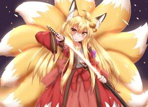 Rating: Safe Score: 10 Tags: animal_ears horokusa kitsune sword tail User: dick_dickinson