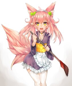 Rating: Safe Score: 46 Tags: animal_ears japanese_clothes kitsune maid pointy_ears shiratan tail thighhighs trap wa_maid User: Mr_GT