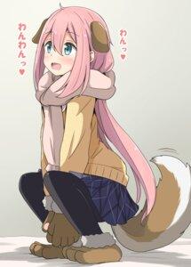 Rating: Safe Score: 12 Tags: aikawa_ryou animal_ears inumimi kagamihara_nadeshiko pantyhose seifuku skirt_lift sweater tail yurucamp User: popcorn1239