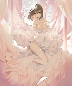 Rating: Questionable Score: 76 Tags: breast_hold dress fishnets naruwe no_bra skirt_lift thighhighs wedding_dress User: Mr_GT