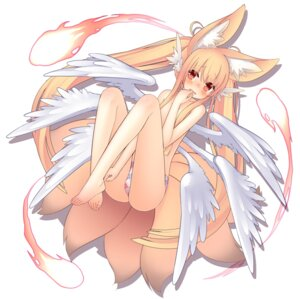 Rating: Questionable Score: 43 Tags: animal_ears kitsune pantsu runpu_runpu tail topless wings User: KazukiNanako