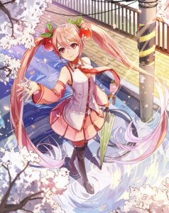 Rating: Safe Score: 46 Tags: hatsune_miku headphones limobok sakura_miku thighhighs umbrella vocaloid User: Mr_GT