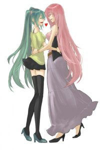 Rating: Safe Score: 12 Tags: hatsune_miku megurine_luka rioko thighhighs vocaloid User: yumichi-sama