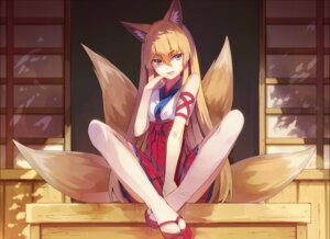 Rating: Safe Score: 50 Tags: animal_ears japanese_clothes jpeg_artifacts kitsune miko thighhighs yasumo User: KazukiNanako