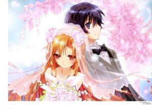 Rating: Safe Score: 30 Tags: aigamo_hiroyuki asuna_(sword_art_online) dress kirito sword_art_online wedding_dress User: drop