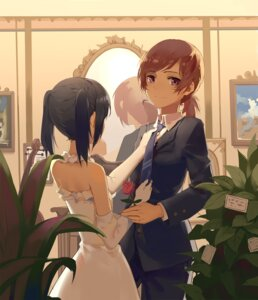 Rating: Questionable Score: 39 Tags: crossdress dress huanxiang_heitu love_live! nishikino_maki wedding_dress yazawa_nico User: sylver650