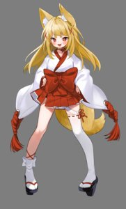 Rating: Safe Score: 10 Tags: animal_ears kitsune miko tail thighhighs transparent_png xretakex User: Mr_GT