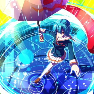 Rating: Safe Score: 15 Tags: blue_vert heterochromia seifuku tatara_kogasa thighhighs touhou User: Mioka