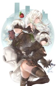 Rating: Questionable Score: 23 Tags: ass cleavage dress heels mecha nier_automata noshio_(artist) sword thighhighs yorha_no.2_type_b yorha_no._9_type_s yorha_type_a_no._2 User: mash