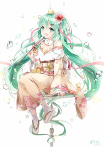 Rating: Safe Score: 53 Tags: cleavage hatsune_miku kimono kuroi_asahi open_shirt signed tattoo vocaloid User: charunetra