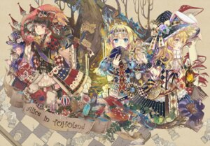 Rating: Safe Score: 21 Tags: alice_in_wonderland alice_margatroid animal_ears bunny_ears crossover dress ekita_gen hakurei_reimu kirisame_marisa patchouli_knowledge shanghai touhou witch User: Mr_GT
