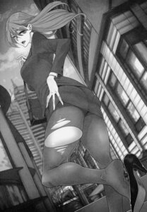 Rating: Questionable Score: 16 Tags: ass business_suit hajimete_no_gal monochrome pantyhose tagme torn_clothes User: Radioactive
