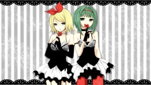 Rating: Safe Score: 25 Tags: dress gumi kagamine_rin pantyhose stockings thighhighs vocaloid wallpaper yayoi User: Nekotsúh