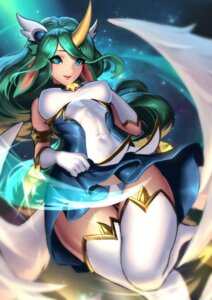 Rating: Safe Score: 41 Tags: animal_ears cianyo erect_nipples horns league_of_legends pantsu skirt_lift soraka tail thighhighs wings User: Mr_GT