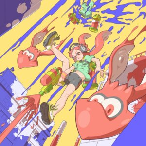 Rating: Questionable Score: 30 Tags: bike_shorts cameltoe gun headphones inkling_(splatoon) splatoon tenako User: Brufh
