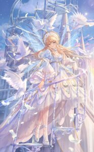 Rating: Safe Score: 44 Tags: cleavage criin dress heels heterochromia pantyhose pointy_ears queen_hestia see_through shining_nikki wings User: whitespace1
