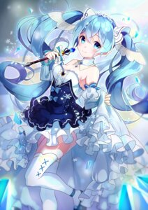 Rating: Safe Score: 30 Tags: cleavage dress goroo_(eneosu) hatsune_miku skirt_lift tagme thighhighs vocaloid yuki_miku User: BattlequeenYume