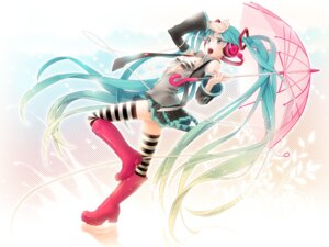 Rating: Questionable Score: 33 Tags: bra hatsune_miku hima_(ab_gata) open_shirt thighhighs vocaloid wallpaper User: charunetra