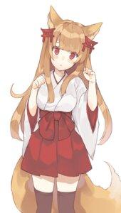 Rating: Safe Score: 46 Tags: animal_ears hasegawa kitsune miko tail thighhighs User: nphuongsun93