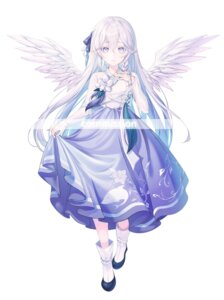Rating: Safe Score: 22 Tags: asian_clothes harusame_(user_wawj5773) pointy_ears skirt_lift watermark wings User: lounger