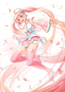 Rating: Safe Score: 27 Tags: hatsune_miku headphones heels kabu_(e90vwggy) sakura_miku thighhighs vocaloid User: Mr_GT