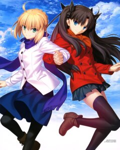 Rating: Safe Score: 80 Tags: fate/stay_night heels pantyhose saber takeuchi_takashi thighhighs toosaka_rin type-moon User: drop