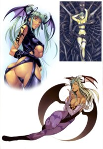 Rating: Questionable Score: 51 Tags: ass cleavage dark_stalkers homare homare_dou leotard morrigan_aensland naked pantyhose stockings tattoo thighhighs thong underboob wings User: Nazzrie