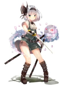 Rating: Questionable Score: 59 Tags: konpaku_youmu pantsu string_panties sword touhou uraziru User: 麻里子