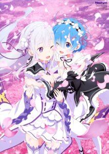 Rating: Safe Score: 94 Tags: emilia_(re_zero) maid pointy_ears re_zero_kara_hajimeru_isekai_seikatsu rem_(re_zero) sakai_kyuuta skirt_lift thighhighs User: drop