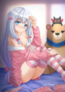 Rating: Explicit Score: 27 Tags: cum eromanga-sensei izumi_sagiri kazenokaze no_bra open_shirt pajama thighhighs User: Mr_GT