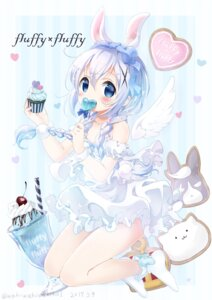 Rating: Safe Score: 55 Tags: animal_ears bunny_ears dress gochuumon_wa_usagi_desu_ka? kafuu_chino waki_(pixiv2609622) wings User: Mr_GT