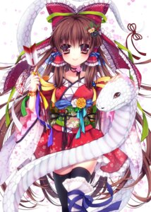 Rating: Safe Score: 15 Tags: hakurei_reimu mikazuki_sara thighhighs touhou User: fairyren