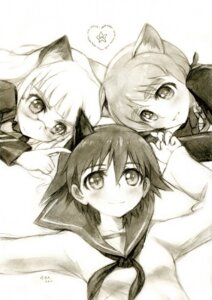 Rating: Safe Score: 9 Tags: animal_ears kisetsu lynette_bishop megane miyafuji_yoshika monochrome nekomimi perrine-h_clostermann sketch strike_witches User: charunetra