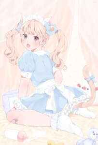 Rating: Safe Score: 24 Tags: animal_ears bandaid dress nekomimi shizuko_(chipccchip) tail User: KazukiNanako