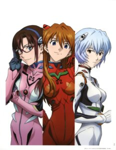 Rating: Safe Score: 38 Tags: ayanami_rei bodysuit makinami_mari_illustrious matsubara_hidenori megane neon_genesis_evangelion souryuu_asuka_langley User: Radioactive